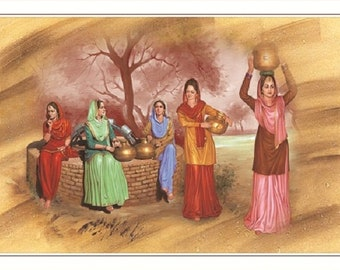 Punjabi Village Painting Print Wall Poster Without Frame (30 X60 Inches)