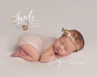 Newborn photo prop, mohair romper, newborn mohair romper, photo prop, baby girl, newborn romper, infant romper, baby girl, Lacey top romper