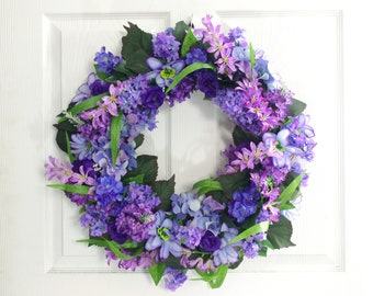 Blue and Purple Floral Wreath, Summer Wreath, Front Door Wreath, Summer Decor, Everyday Wreath