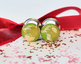 Size 00 Gauges, Ear Tunnels, Green with Gold Foil, Dragon Plugs, 00g Plugs - size 10mm