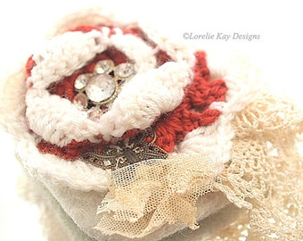 Crochet Rose Needle Felted  Brooch Red & White Flower Rhinestone  Pin Fiber Light Weight Broach Pin