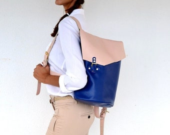 Blue and nude leather backpack