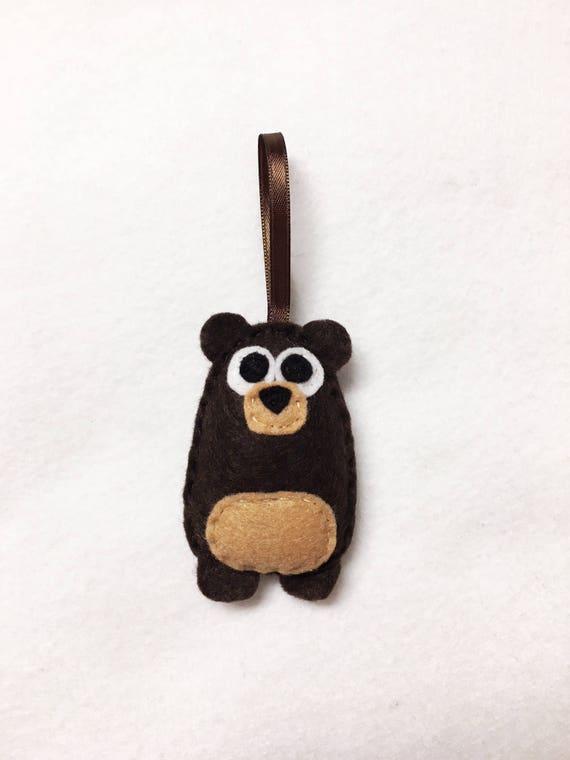 Bear Ornament, Christmas Ornament, Benny the Baby Bear, Felt Ornament, Forest Animal, Woodland Decoration, Ready to Ship