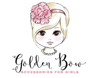 Golden Bow Boutique- Girls Couture -  Character Illustrated Predesigned Logo design