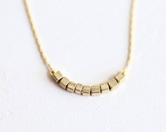 Tiny Gold Necklace, Bohemian Necklace, Delicate Necklace, Dainty Choker with Beads, Minimalist Boho Necklace   Gold Minimalist Necklace