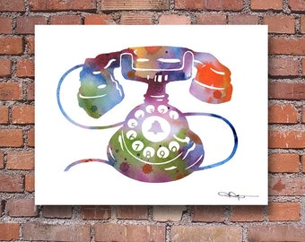 Vintage Telephone Art Print - Abstract Watercolor Painting - Wall Decor