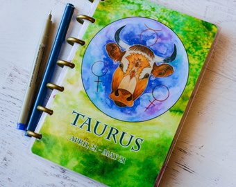 Taurus Planner Cover - Meal Planner Cover - Disc Bound Notebook - Arc System Cover - Disc Bound Planner - Mini Happy Planner Cover