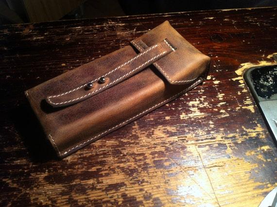 Churchill Size Cigar Holder, Cigar Holder, Cigar Leather Case, Handmade, Made tp order, Leather Cigar Holder