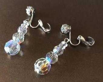 Graduated Bead and Prong Set CZ Aurora Borealis Crystal Clip On Earrings