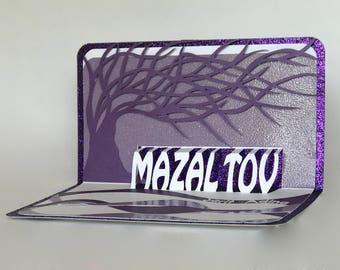 MAZAL TOV 3D Pop-Up ORIGiNAL Greeting Card w/ TRee Of LiFE Bar/Bat Mitzvah, Wedding, in Metallic Silver and Purple Handmade One of a Kind.