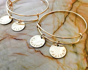 Adjustable Expandable Bangle Bracelet custom- Four Different Metals To Choose - 1 Size Fits Most - Personalized Charm Style Bangle, Charms