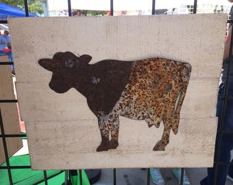 Metal cow sign, wooden decor, farm animal kitchen sign, home decoration