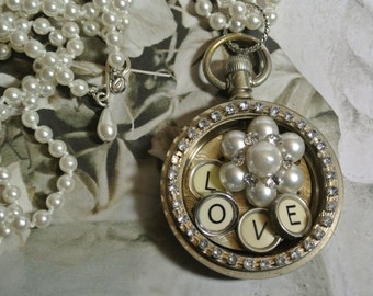 "Steampunk Altered Pocket Watch Necklace, Authentic Typewriter Keys ""Love"" and repurposed Earring, One of a Kind,Assemblage By UPcycled Works"