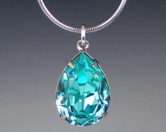 Set of 4 Rhinestone Necklaces Light Turquoise  Aqua Teal Wedding Jewelry Bridesmaid Jewelry MADE TO ORDER