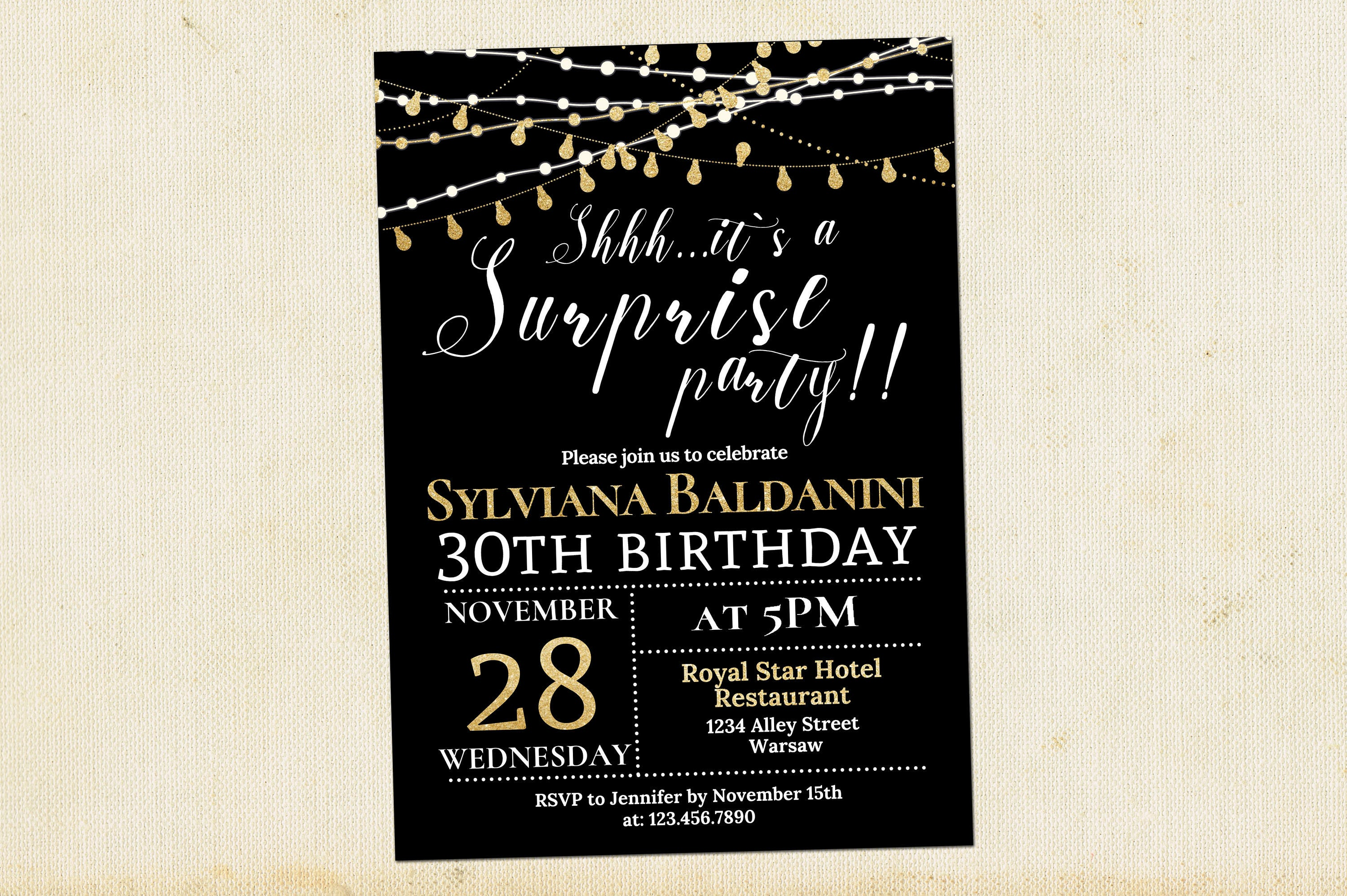 30th Surprise Birthday Invitation Adult Party Invitation