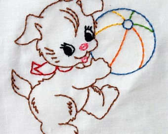 Vintage Puppy Dog with Ball Machine Embroidery Design 2 sizes, 4x4 or 5x7 colorwork linework, INSTANT DOWNLOAD. girl, toddler, baby