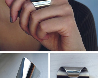 3cm wide statement ring / stainless steel ring cuff /  beauty gift / cuff ring / wide tube ring / oval ring edgy ring / long ring