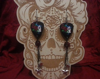 Day of the dead guitar picks roses dice and stars earrings