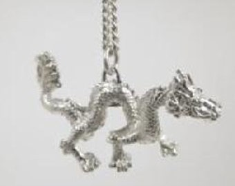 """Solid Sterling Silver (92.5) Asian Year Of The Dragon Pendant on 20"""" Chain"""
