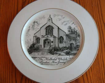 "1955 Souvenir Plate of THE METHODIST CHURCH, Linden, New Jersey 10"""