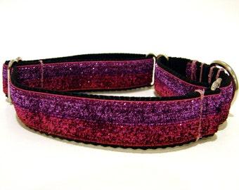 "Martingale Dog Collar Red Pink Purple Glitter Collar 1"""