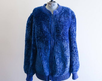 Blue chenille 70s zip front cardigan sweater bomber jacket sz. Small / Medium