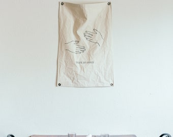 Canvas Banner - Tree Hugger - Wall Hanging - Canvas Flag - Poster - Wall Art - Decor - Organic Cotton - Pennant - Screenprint - Vintage
