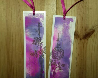 Set of two bookmarks shabby chic, original design with inks (4)