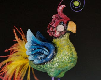 Whimsical, bright parrot ceramic sculpture with ostrich feathers and sass!