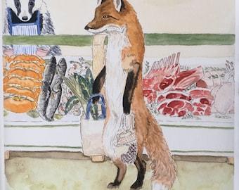 Art Print Shopping Fox