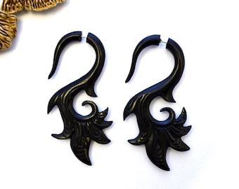 Fake Gauges Wood Earrings Flower Drops  Black Wooden Organic Earrings Natural Tribal - FG039 DW G2