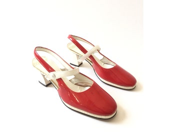 mod 60s heels red white patent leather heels size 5 and half