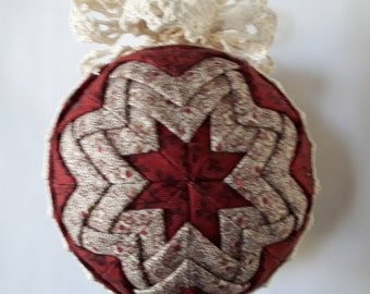 Country Style Red and Brown Quilted Ornament