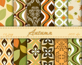 Instant Download - Autumn Digital paper , Digital Scrapbooking Paper, Printable, Background, Paper Pack