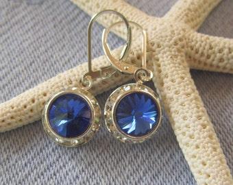 Swarovski Sapphire Rivolis in Rhinestone Frames, Shimmering, Sparkly, Deep Blue, Summery Color, Bridesmaids, Wedding