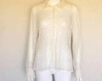 """Ralph Lauren sheer mesh embroidered shirt  38' waist, 43"""" bust, 25"""" length"""