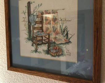 Paula Vaughan Summers Remembered Blue Bonnet Completed Finished Framed Cross Stitch