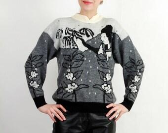 Vintage Geisha Sweater / Japan Sweater / Grey Sweater / Jamie by Selma Size M / 80s Sweater
