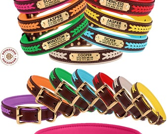 Leather Dog Collar, Dog Collar for Dogs, Pet Collar, Personalised Dog Collar, Engraved Dog Collar, Braided Dog Collar, Puppy Dog Collar