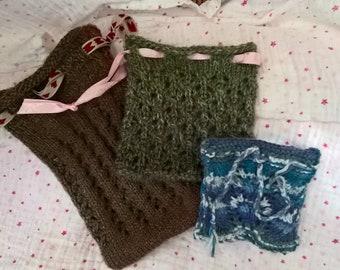 Tricoté à la main sacs de plage - cadeau sacs/crystal sacs/tarot sacs/trousse - de tailles (20x14cm to7x8cm)-