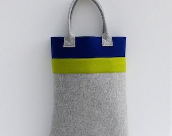 Oversized Shopper, Felt Tote, Blue and Light Grey Shopper, Shopping Bag Midnight Blue and Light Gray, Wool Felt XXL Shopper