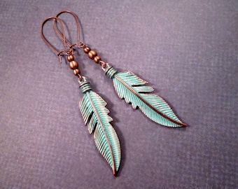 Copper Feather Earrings, Teal Patina Earrings, Long Dangle Earrings, FREE Shipping U.S.