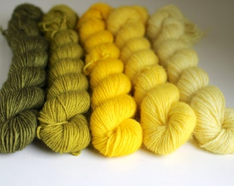 Yellow Gradient Mini Skein Set - BFL 4 Ply