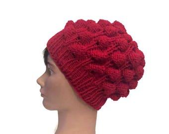 Slouchy Oversized Beanie Strawberry Stitch Hand Knit Hat Winter Fashion Ready to Ship