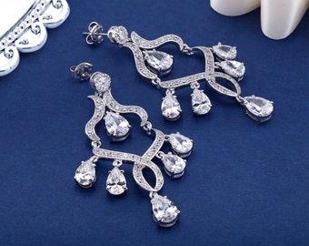 Wedding Earrings, Bridal Earrings, Crystal Earrings, Chandelier Earrings, CZ Jewelry, Bridal Jewelry Crystal Drop Earring Rhinestone Earring
