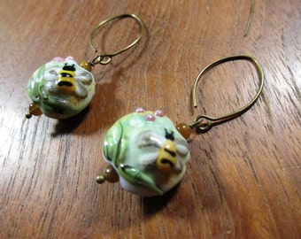 BUMBLE BEE Lampwork Earrings: Floral Murano Glass Earrings, Handcrafted Jewelry Handmade Jewelry