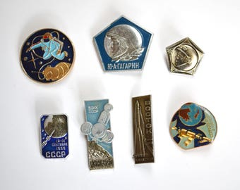 Vintage space pins, metal badges, Russian Soviet memorabilia 1960s 1970s, USSR Gagarin sputnik spacecraft moon cosmonaut spaceman rocket