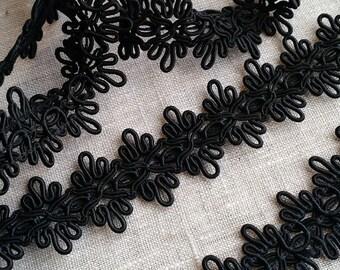 LOT OF 3.5 YARDS Vintage Ornate Braided and Looped Soutache / Gimp Trim, Black, Gimp, Soutache Trim, Vintage Trim, Ribbon, Costume, Elegant