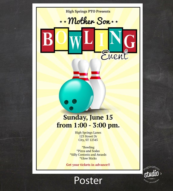 Mother Son Or Family Bowling Night Event Custom Printable