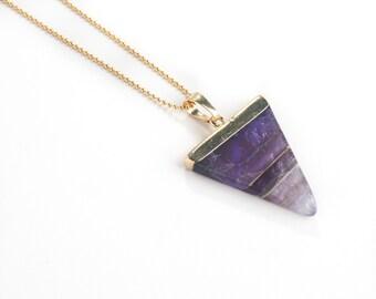 Amethyst Triangle Necklace-amethyst pendant, triangle necklace, layering necklace, ball chain, gold necklace, pendant